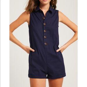 Linen Button Front Romper Shorts Navy Blue